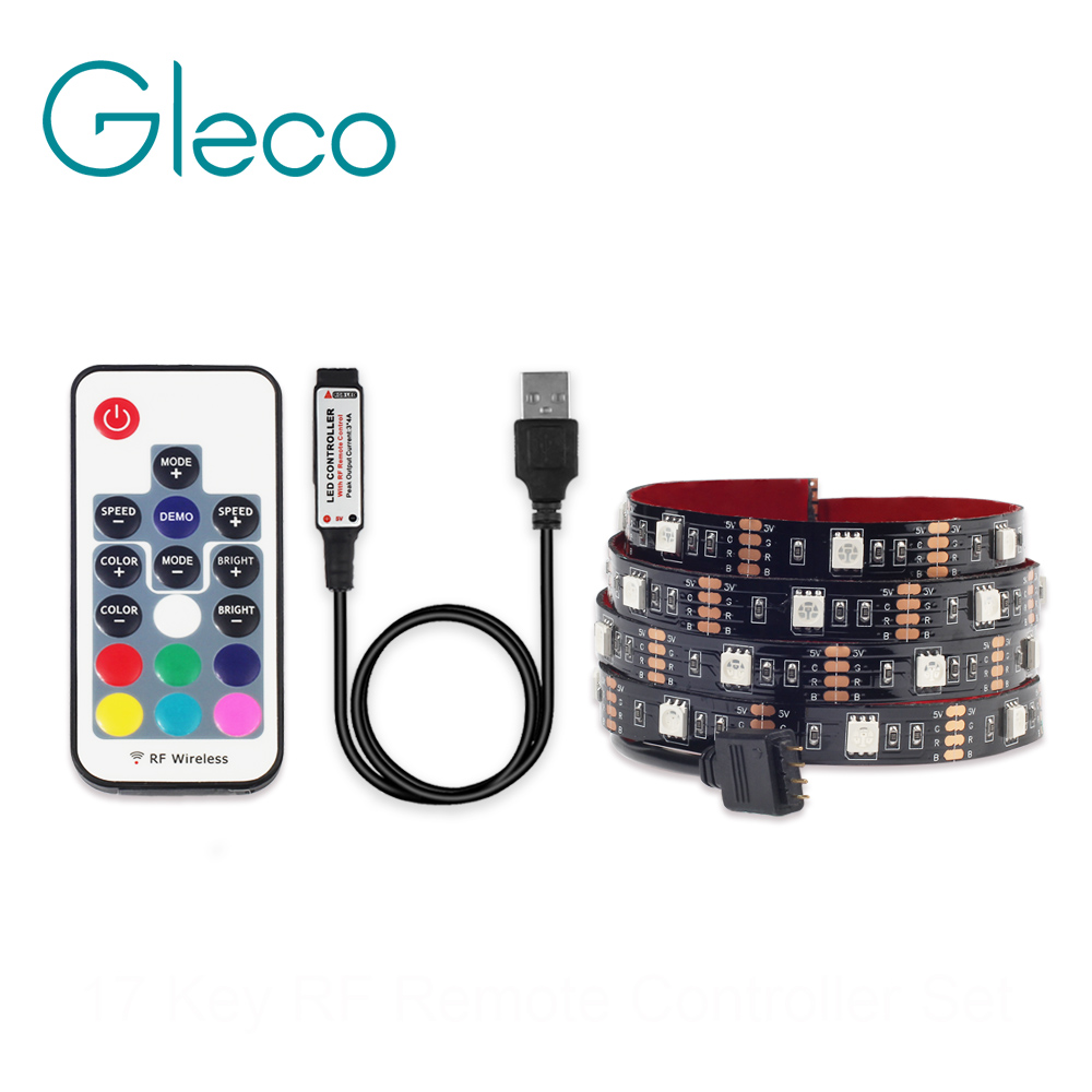 USB LED Strip Light 5050 RGB RGBW RGBWW 50CM 1M 2M With RF Remote Controller For PC TV Background Lighting Flexible LED Strip 5V