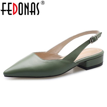 FEDONAS Quality Genuine Leather Women Pumps Pointed Toe Square Heels Party Wedding Shoes Woman Female Elegant Office Pumps