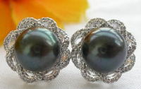 free shipping 13377 New Style AA++11MM black ROUND PEARL mount SILVER Earring
