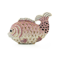 Fish shape crystal mini purse with gold chain hard clutch evening bag clutch bag women handbags(8662A P)