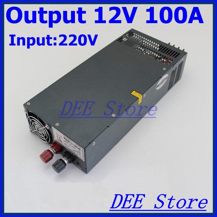 блок питания 12v Из светодиодов драйвер 1200 Вт 12 В ( 0 15 В ) 100A один выход импульсный источник питания для из светодиодов полосы света AC DC преобр