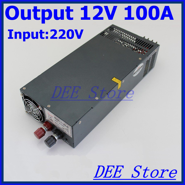 Led driver 1200W 12V 100A  Adjustable (0-15V) Single Output  Switching power supply unit for LED Strip light  AC-DC Converter 90w led driver dc40v 2 7a high power led driver for flood light street light ip65 constant current drive power supply