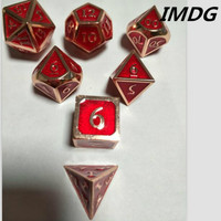 Dragon and Dungeons 7 Pieces / Set of Creative Role playing Games Dice D&D Metal Dice DND Red Copper Transparent Red