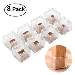 8 piezas cuadradas de silicona para silla tapas de pierna almohadillas para pies fundas de mesa de muebles protectores de suelo de madera (transparente)