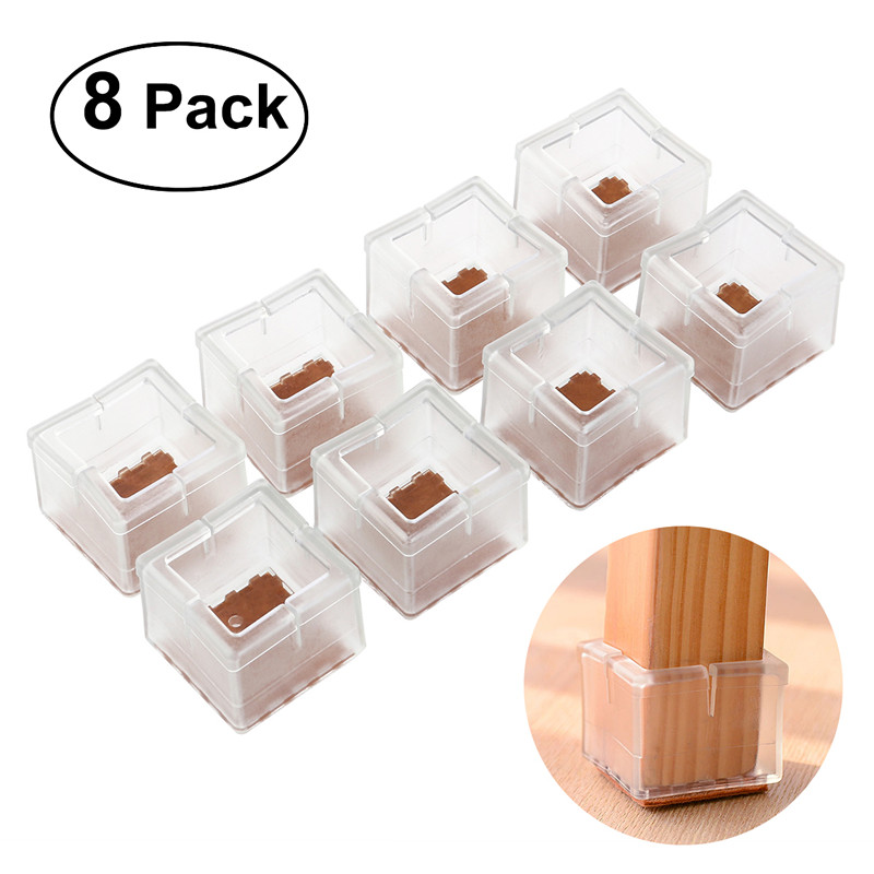 8pcs Square Silicone Chair Leg Caps Feet Pads Furniture Table Covers Wood Floor Protectors (Transparent)