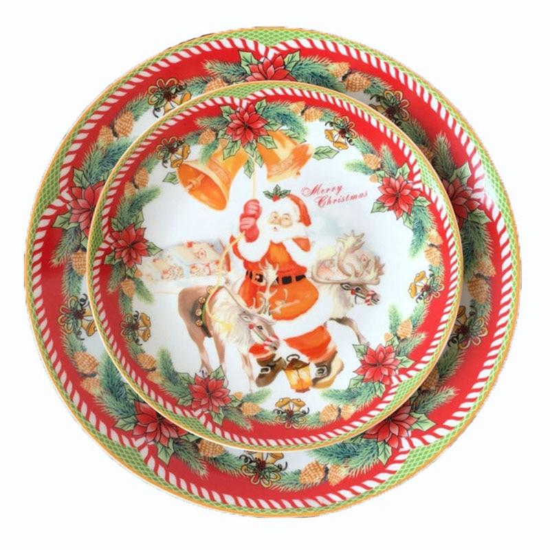 Ensemble de couverts assiette en céramique assiette de noël plat Santa Vajilla comestible peint à la main porcelaine dessin animé plat vaisselle 8/10 pouces