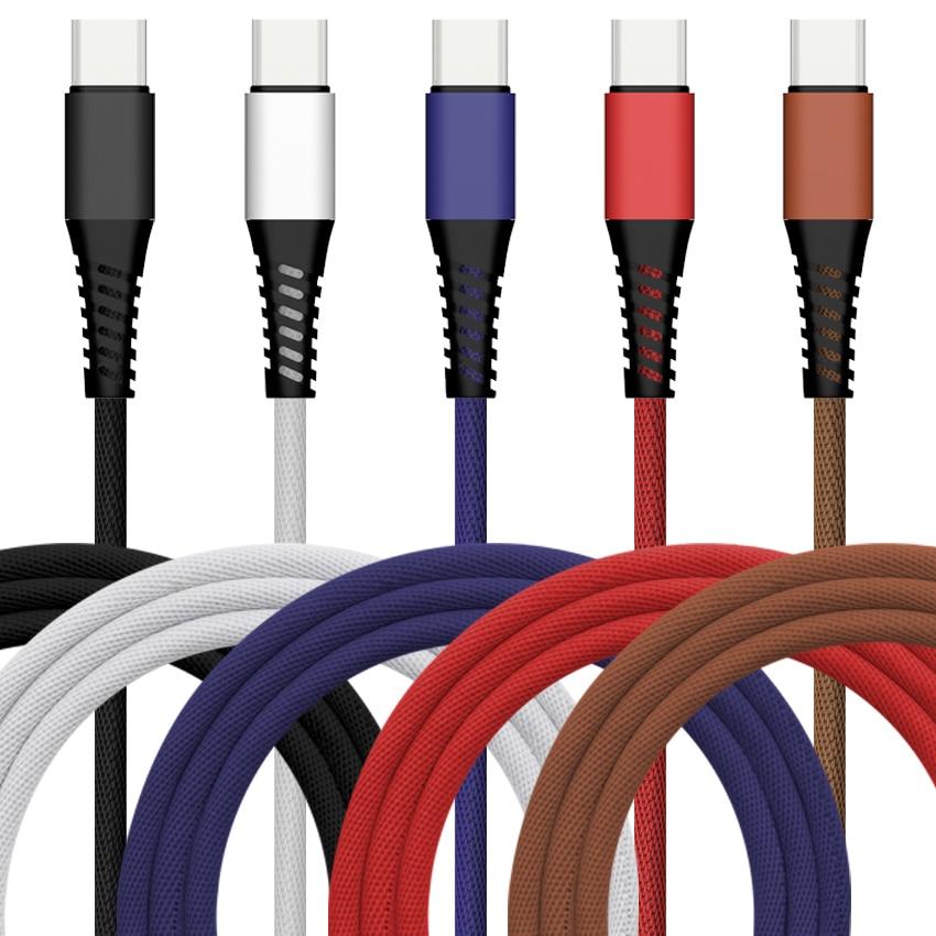 100pcs Lot 3ft 5V 2A Break proof Bradied USB Cable Fabric 8pin Type USB C Quick