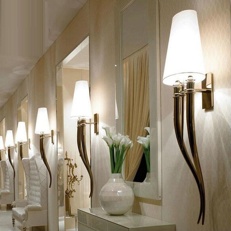 Creative led mur lampe contracté hôtels corne mur lampe salle À manger salon chambre à coucher la tête d'un lit