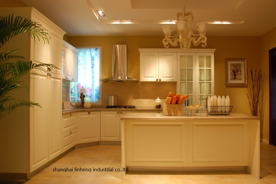 PVC/vinyl Kitchen Cabinet(LH-PV041)