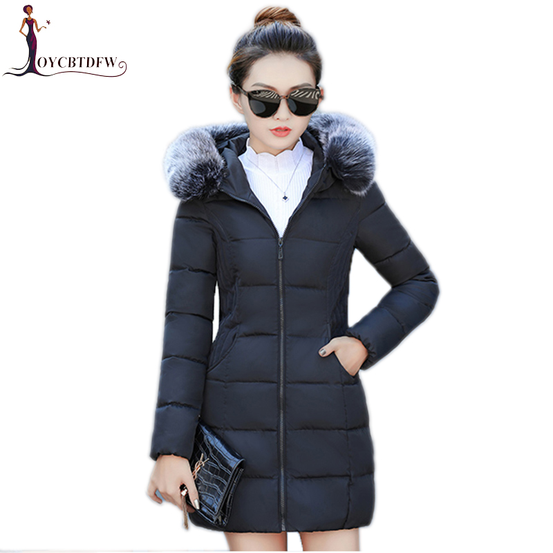 Winter women cotton jacket 2017 new pure color Large size outerwear mid-long Fur collar overcoat hooded warm female Parkas wy024 new winter women s down cotton coats fashion solid color hooded fur collar bread jacket plus size thick warm outerwear okxgnz860