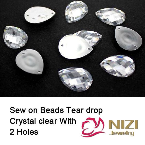 Taiwan Acryl Kralen 10X14mm 13x18mm 18x25mm Plaksteen Traan Crystal Clear kralen Naaien Knoppen Voor Trouwjurk DIY Kralen