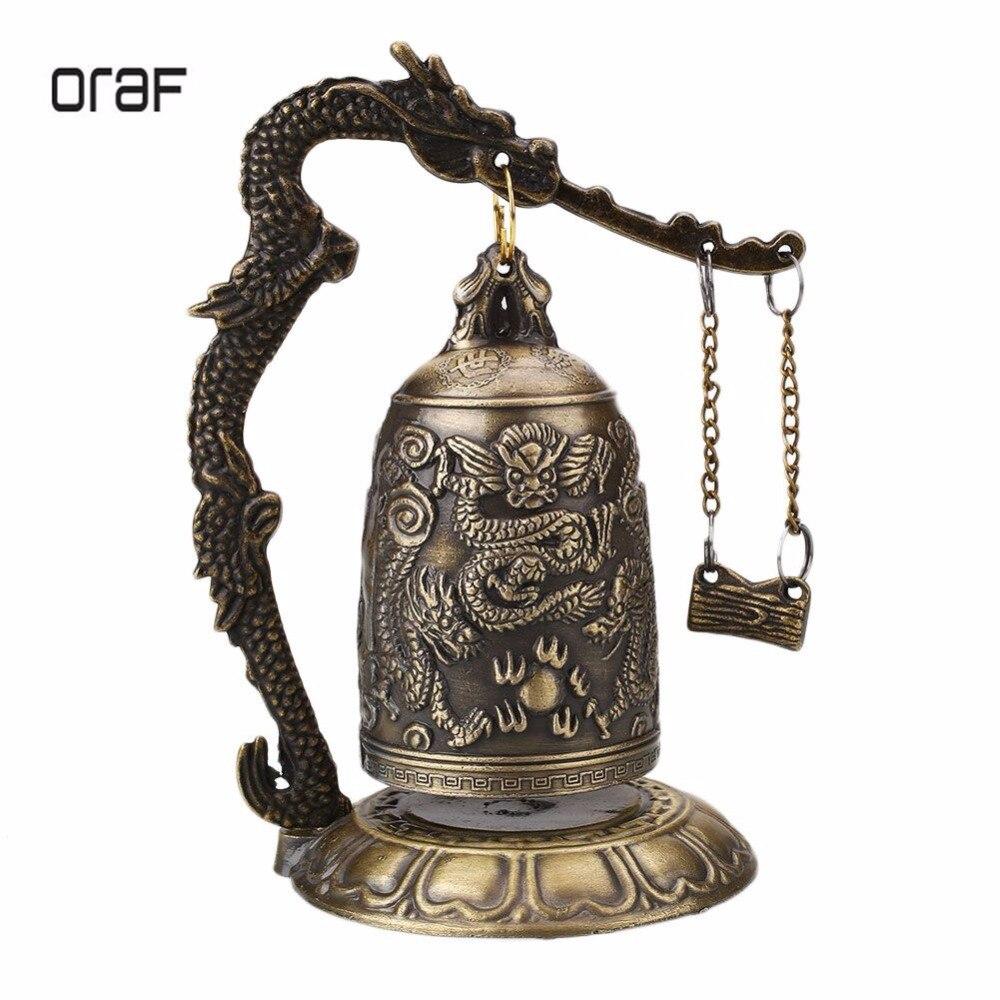 ORAF Home Decoration China Buddhism Brass Copper Carved Statue Lotus Buddha Dragon Bell Clock Bronze Buddhist Bells Artware