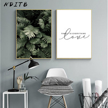 Green Plant Leaf Canvas Poster Quotes Print Scandinavian Style Painting Decorative Picture Modern Living Room Nordic Decoration