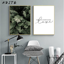 Green Plant Leaf Canvas Poster Quotes Print Scandinavian Style Painting Decorative Picture Modern Living Room Nordic Decoration(China)