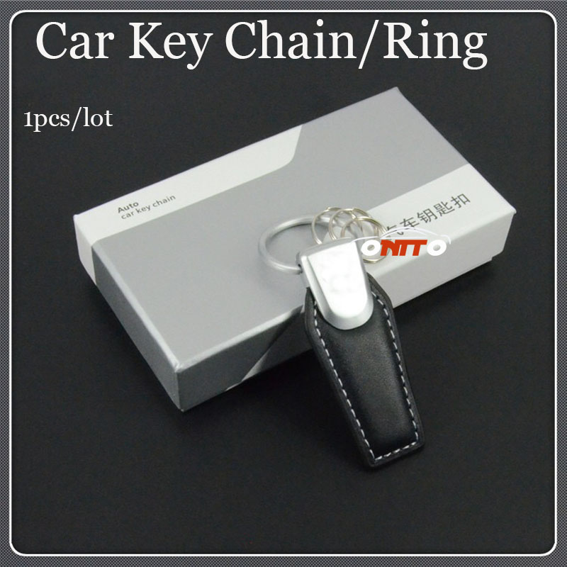 1pcs/lot Car Emblem logo badge Auto Key Chains Car Key Ring Holder stainless steel leather Auto Accessories Hot selling