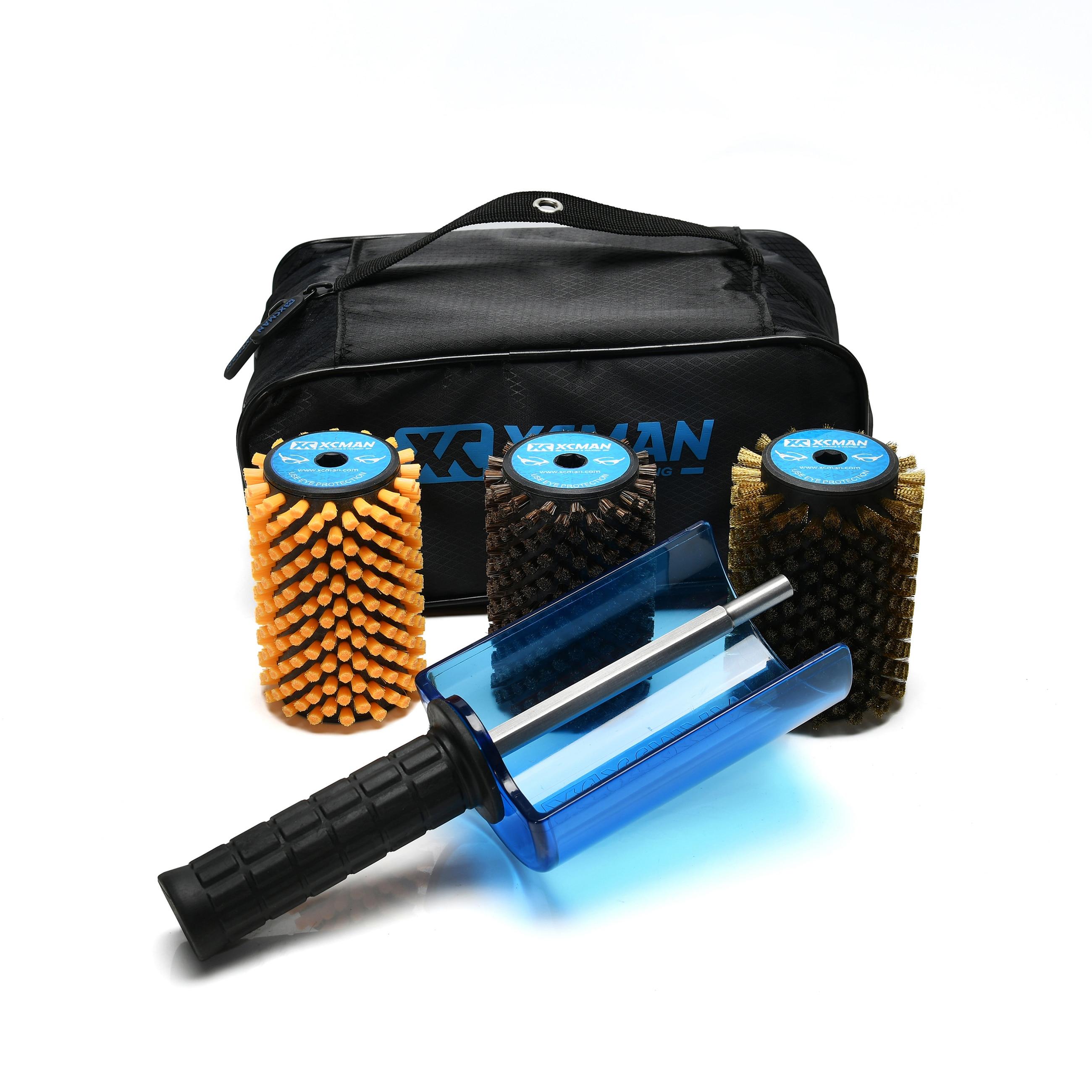 XCMAN Ski Roto Brush Kit Roto Brush Controller Handle  With All 3 Brushes: Nylon, Horsehair, Brass/Cork