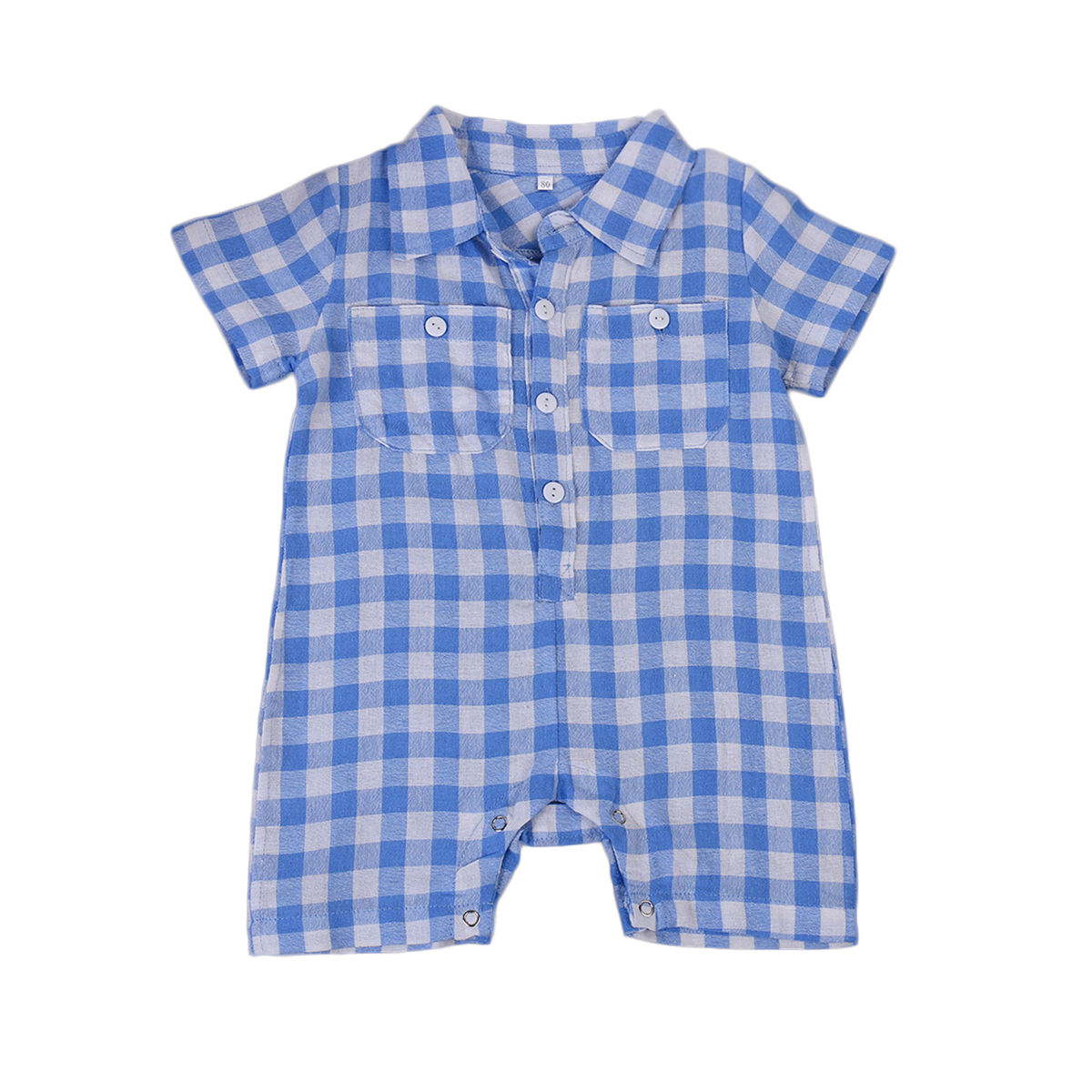 2017 Cute Newborn Baby Rompers Boys Plaids Summer Romper Blue Short Sleeve Infant Kids Boys Clothes otton Party Outfits Clothing cotton i must go print newborn infant baby boys clothes summer short sleeve rompers jumpsuit baby romper clothing outfits set