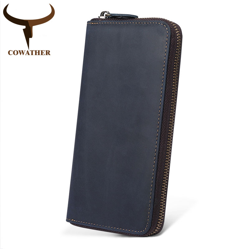COWATHER top cow genuine leather wallet men 2019 Crazy horse genuine leather long style casual men wallets Q2017 free shippingCOWATHER top cow genuine leather wallet men 2019 Crazy horse genuine leather long style casual men wallets Q2017 free shipping