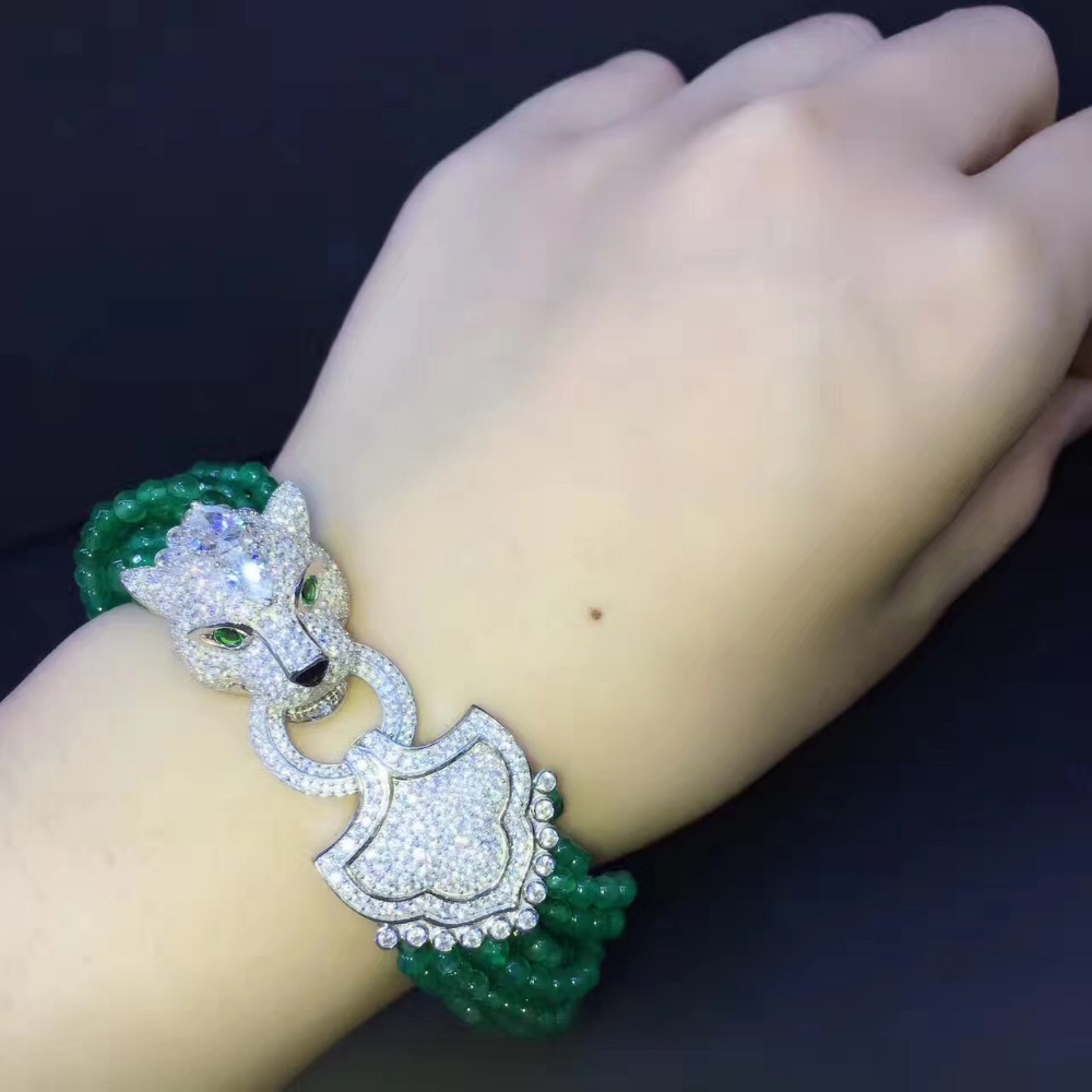 natural semi precious stone bracelet multi layers 925 sterling silver with cubic zircon leopard lock fashion women jewelry