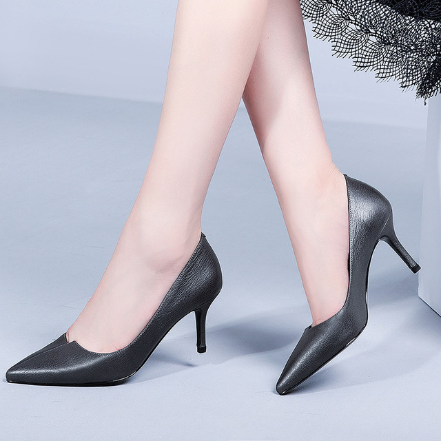 High end brand name full leather women 39 s high heeled shoes 2019 spring and summer shallow mouth stiletto T single shoes women in Women 39 s Pumps from Shoes