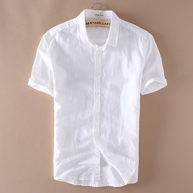 5XL Men Cotton Linen Short Sleeve Casuals Shirts 2018 Summer Plus Size White Shirt