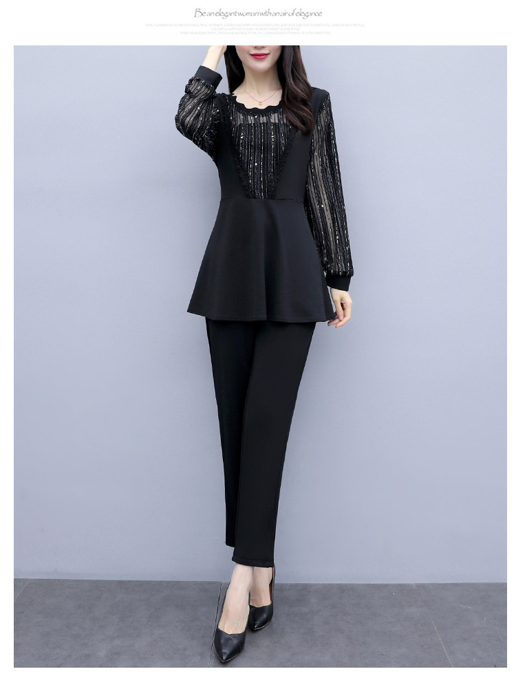 Plus Size Autumn Black Two Piece Sets Outfits Women Long Fake Two Pieces Tops And Pants Suit Elegant Korean Ol Style 2 Piece Set 34