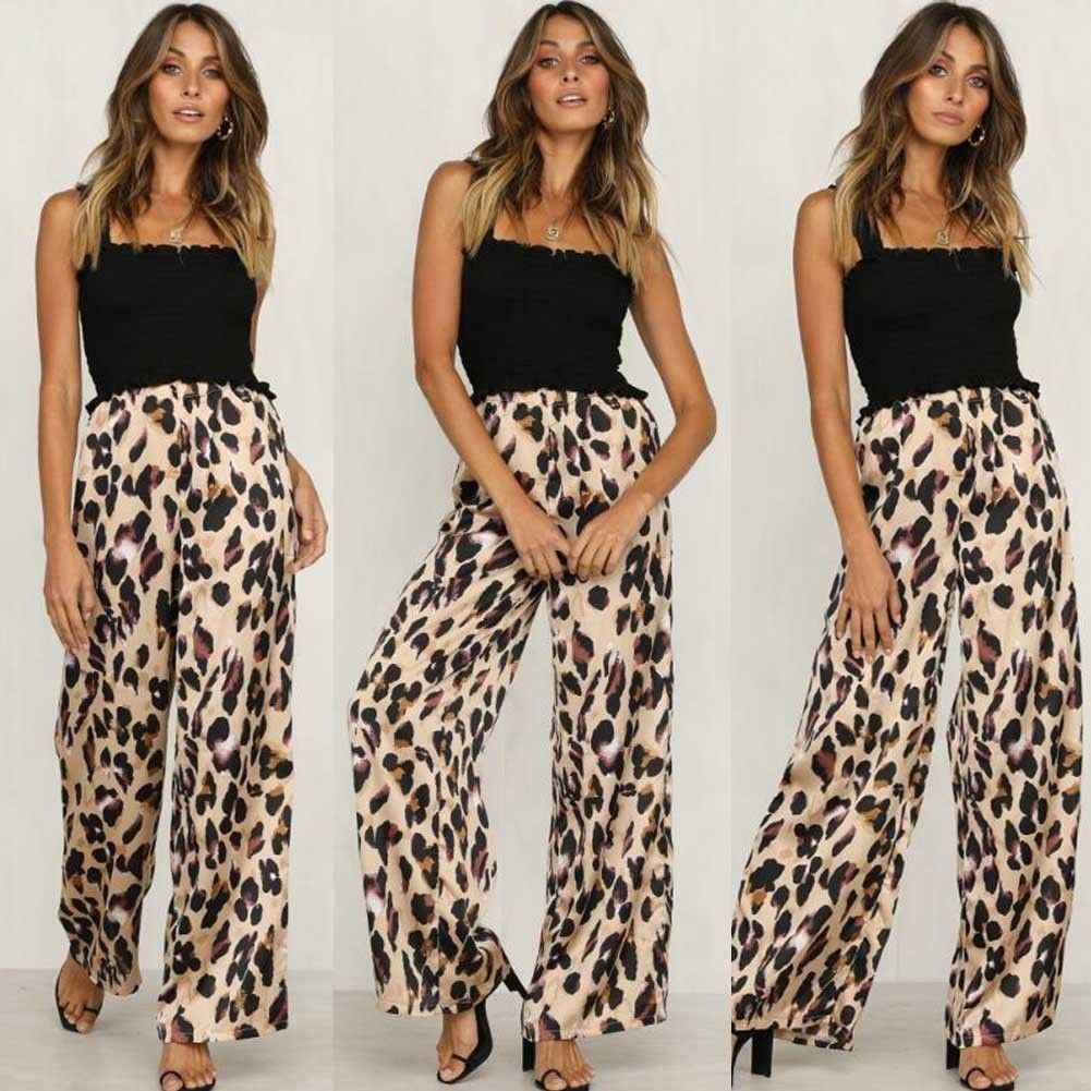 ae461a763e4be ... New Ladies Women Pants Animal Leopard Print Wide Leg Trousers Fashion  Loose High Waist Women Capris ...