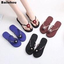 цены Bailehou Women Beach Slippers Flower Flip Flops Slides Flat Sandals Slip On Home Outdoor Slipper Female Casual Flip Flops  Shoes