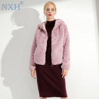 NXH 2018 Women's short coat women wool coat abrigos mujer elegante wool jacket winter coat Hooded pink tweed fur yellow coat