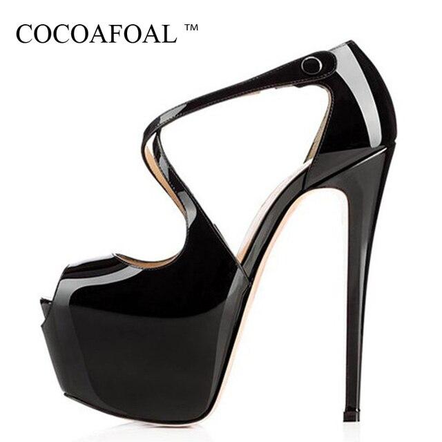 242bb655d06a COCOAFOAL Women Open Toe Heels Sandals 16 CM Plus Size 43 44 45 Silvery  Purple Party Wedding Sandals Summer Sexy Peep Toe Pumps