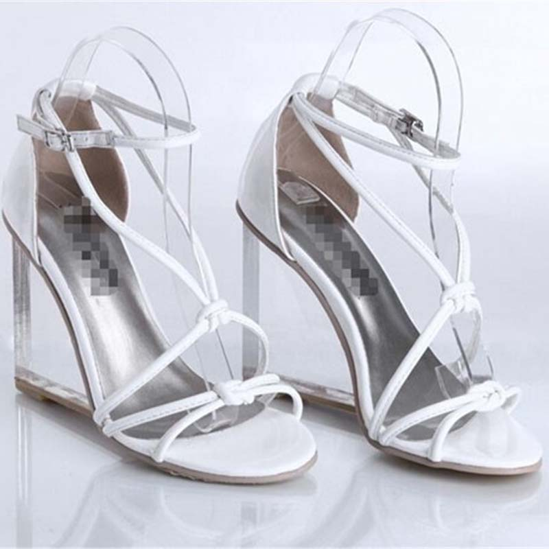 ENMAYLA Sexy Black White Cross tied Summer Shoes Woman Transparent High Heels Gladiator Sandals Womens Wedges Party Dress Shoes in High Heels from Shoes