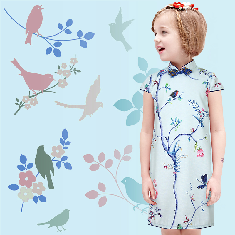 2017 autumn chinese kid child girl peacock cheongsam dress girls qipao clothes silk clothing free shipping new red hot chinese style costume baby kid child girl cheongsam dress qipao ball gown princess girl veil dress