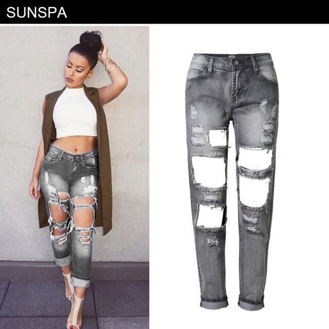 SUNSPA Boyfriend trou déchiré jeans femmes pantalon Cool denim vintage  droite jeans pour fille Mi taille d9daf0b1bb5
