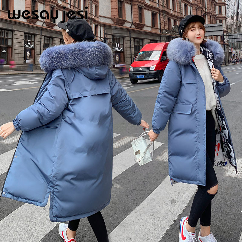 Hooded Parka Jacket Side-Wear Big-Fur-Collar X-Long Warm Thick Causal Both Double