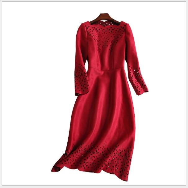 Trois D'été Trimestre Volants Évider 170823 marine Daim Feminina Robe Femmes Manches Bleu Robes Boho Col En 2018 Solide Rouge n8qxfCxw1