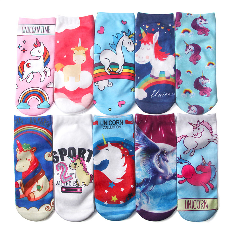 2017 New Soft Cotton Unicorn Socks Kids Girls Novelty 3D printing Cartoon funny socks kids Boys Christmas Clothing Winter Socks funny sentence kinitted crew socks