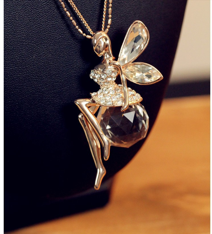Fashion Fine Crystal Angel Wings Long Chain NecklaceAhiny Butterfly
