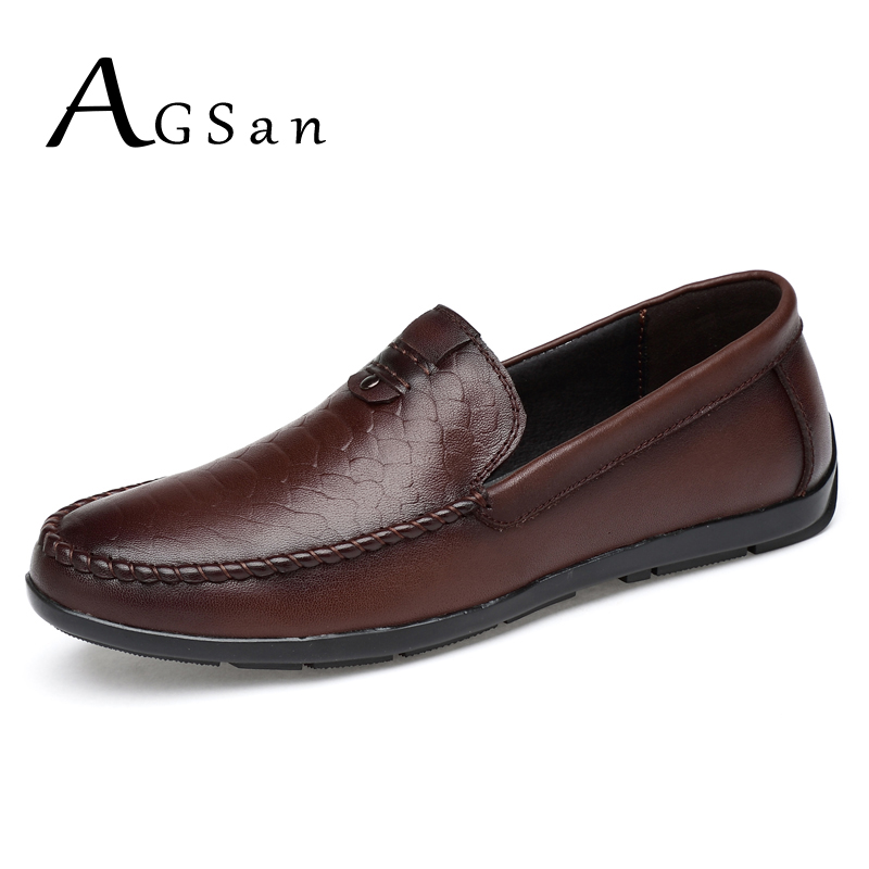 AGSan genuine leather italian driving shoes men handmade loafers business moccasins plus size 11 10.5 10 9.5 mens loafers 47 46