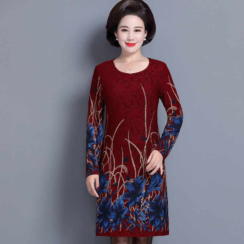 5b3a401dc4 Elegant Middle Aged and Old Women's Autumn Dress Long Sleeve 40 - 50 Year  Old Mother Dresses Large Size Plus Vestidos Printed