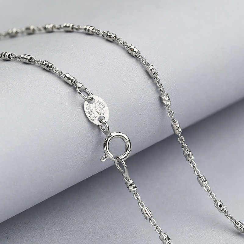 Real 925 Silver Female Chain Necklace 45CM Chain Engagement Jewelry White Gold Color