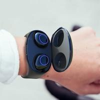 HM50 TWS Wireless Bluetooth earphone Portable Smart Wristband Wireless Stereo HIFI headphones 2in1 Watch Storage Charger