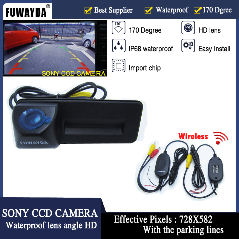 Wireless SONY CCD HD Car Trunk Handle Reverse Parking Rear View Camera For Skoda Roomster Fabia Octavia Yeti Superb For Audi A1