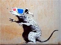 Banksy In Nghệ Thuật Rat 3D Kính Banksy Graffiti Art Modern Wall Trang Trí Nội Thất Canvas