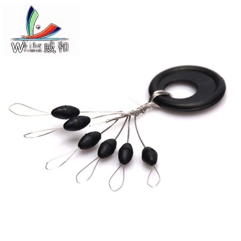 60 Pcs 10 Groups/lot Fishing Bobber Float 6 in 1 Black Rubber Oval Stopper Space Bean Connector Fishing Line Tackle Accessories outkit 10pcs lot copper lead sinker weights 10g 7g 5g 3 5g 1 8g sharped bullet copper fishing accessories fishing tackle