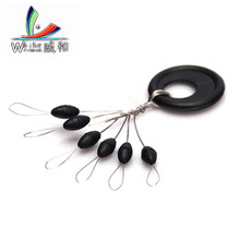 60 Pcs 10 Groups/lot Fishing Bobber Float 6 in 1 Black Rubber Oval Stopper Space Bean Connector Fishing Line Tackle Accessories