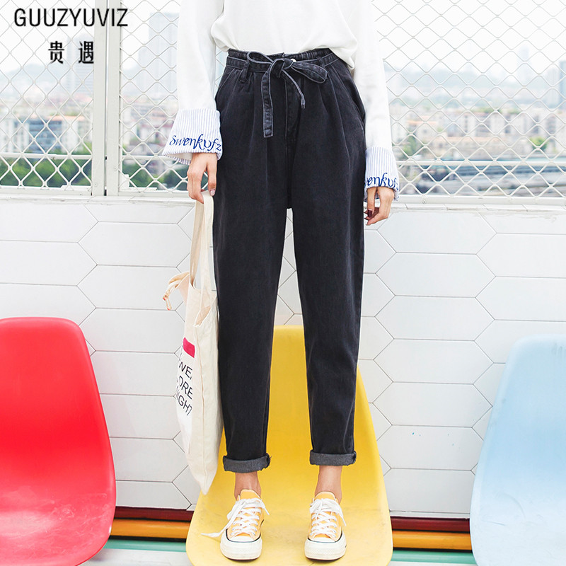 Women's Clothing Guuzyuviz Plus Size High Wiast Jeans Woman Vintage Autumn Winter Cotton Denim Washed Loose Patch Work Harem Pants