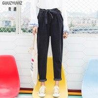 GUUZYUVIZ Loose Boyfriend Jeans For Women 2018 Casual Bandage Bow Tie Belt Cuffs Denim Jeans Woman Plus Size Black Harem Pants