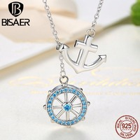 BISAER 2017 New Collection 925 Sterling Silver Blue Anchor Rudder Pendants Necklaces Wedding Jewelry 45CM CN049