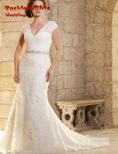 BacklakeGirls Real V neck Tulle Crystal Cap Sleeve Elegant Plus Size font b Wedding b font