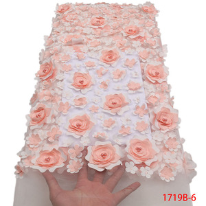 Image 5 - Fashion African Lace Fabric High Quality 3D Flower Fabric Embroidery with Beads French Tulle Net Lace for Wedding Dress APW1719B